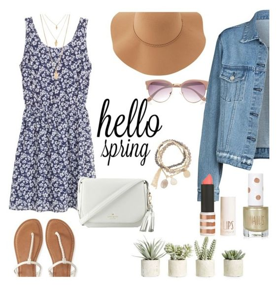 """Spring"" by xiloveyoustyles on Polyvore featuring moda, Allstate Floral, H&M, Topshop, River Island, Sans Souci, Aéropostale, Kate Spade, DesignSix e Forever 21"
