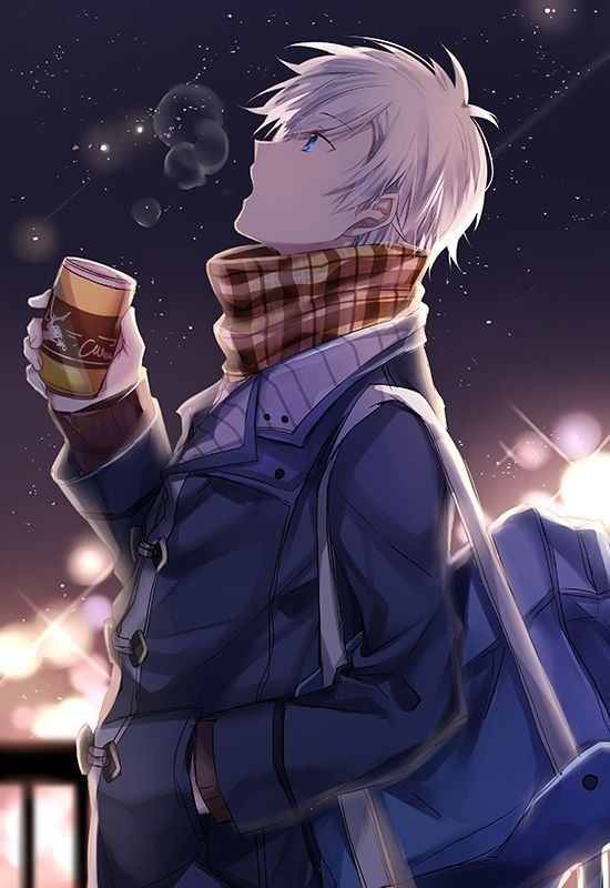 Anime Guy Winter White Hair Blue Eyes Drink Cute Anime