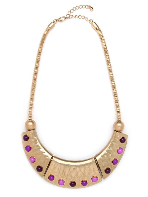 Our Lilac Dot Collar.  The gold plate is fierce, but the lilac-colored cabochon gems add a pretty, feminine touch.
