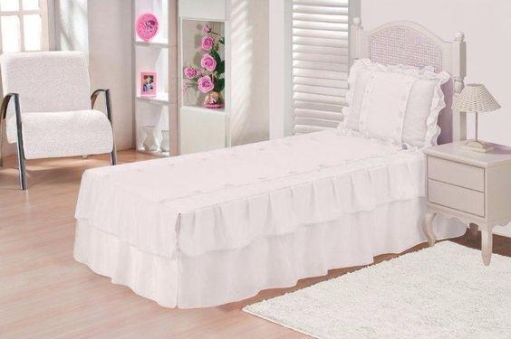 colcha juvenil solteiro + cortina branco 04 peças