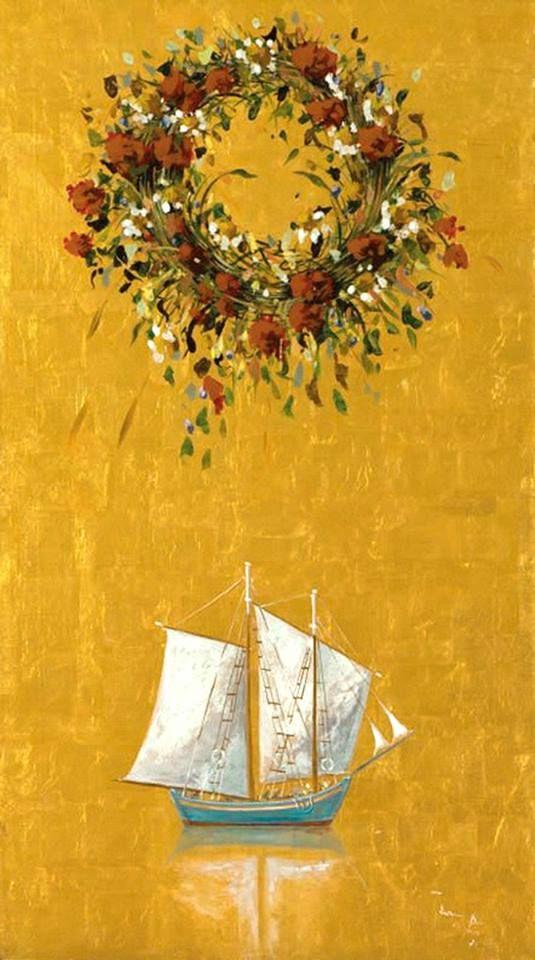 May's wreath ( garland of flowers) by Spyros Vassiliou. Σπύρος Βασιλείου - Μαγιάτικο στεφάνι