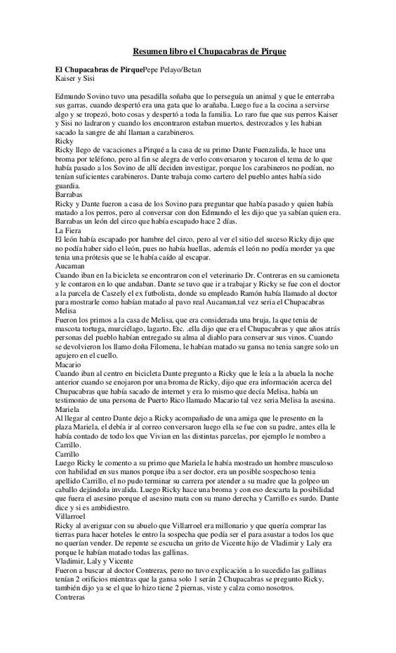 Resumen Libro El Chupacabras De Pirque Mucha How To Plan Mando A