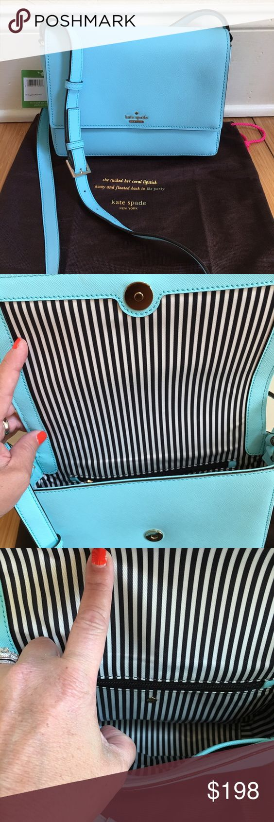 kate Spade Atoll Blue Dody NWT. Cameron street Crossbody.   Black and white stripes on inside.  Had a zipper pocket on one side and large pocket on opposite. 7x9x2 1/2 kate spade Bags Crossbody Bags
