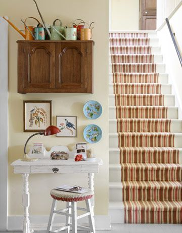 Beautiful striped stair runner.