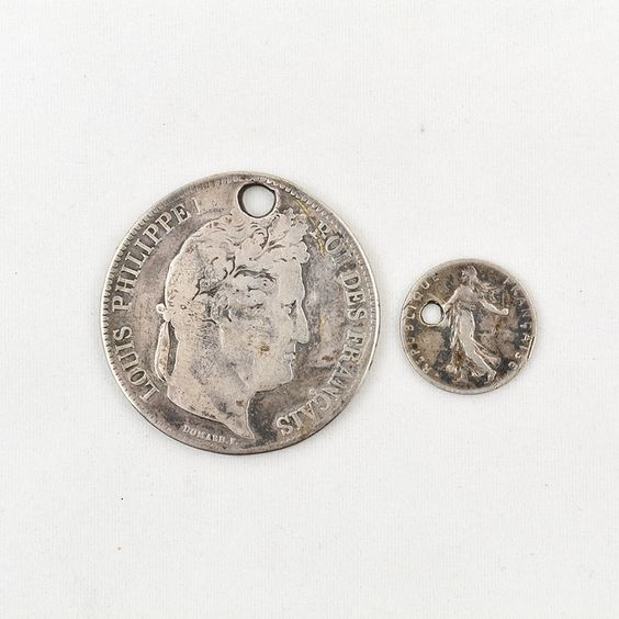 1834 French 5 Franc and 1916 French 50 Centimes Coins