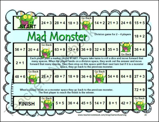 12 Printable Division Board Games from Games 4 Learning These math ...