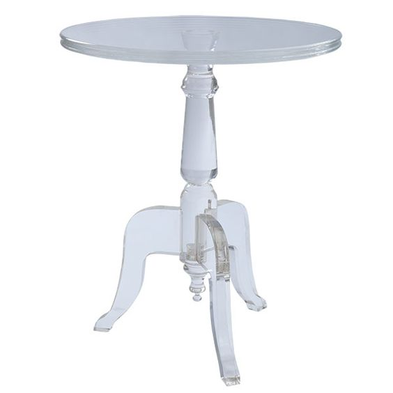 """Wisteria - Acrylic Side Table - (Fashioned after an 18th century European wood table, this piece features a turned wood style base with three curved legs and a round top. Dimensions: 22""""diam x 26.25""""h)"""