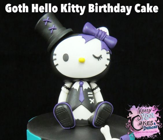 Goth Hello Kitty Cake