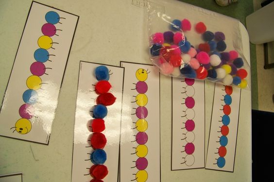 Pattern caterpillars using pom-poms!!  How fun will this be?!?!