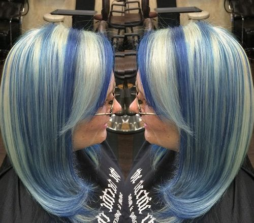 Icy Blue And Blonde Bob Hair Styles Hair Highlights Blonde And Blue Hair