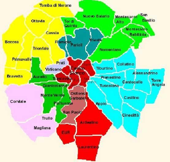 Cartina Della Roma.Quartieri Di Roma Mappa Mappa Roma Mappe
