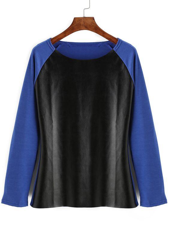 Blusa pu combinado cuero-(Sheinside)
