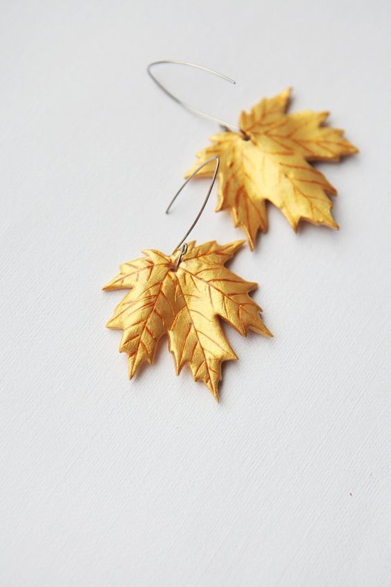 polymer clay maple leaf | Golden Maple Leaves Earrings - handmade fashion jewelry - free ...