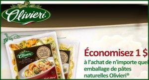Coupon pour les pâtes naturelles Olivieri  http://rienquedugratuit.ca/coupons/pates-olivieri-naturelles/