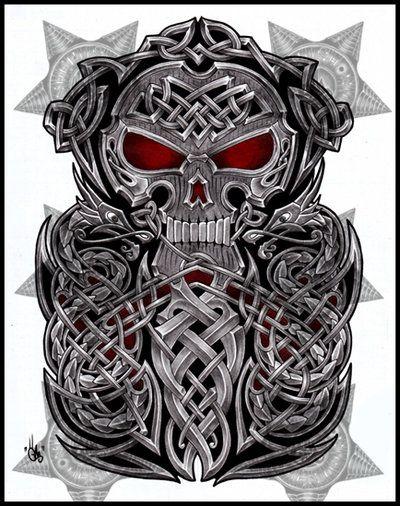 Celtic half sleeves and sleeve designs on pinterest for Celtic skull tattoo