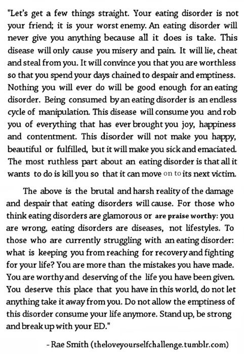 An eating disorder is a killer-break free and survive, i am worth more, and so are you...: