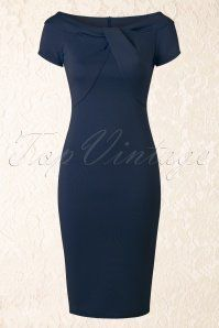 Vintage Chic Knot Detail Dress Navy 100 31 15893 20150528 011W