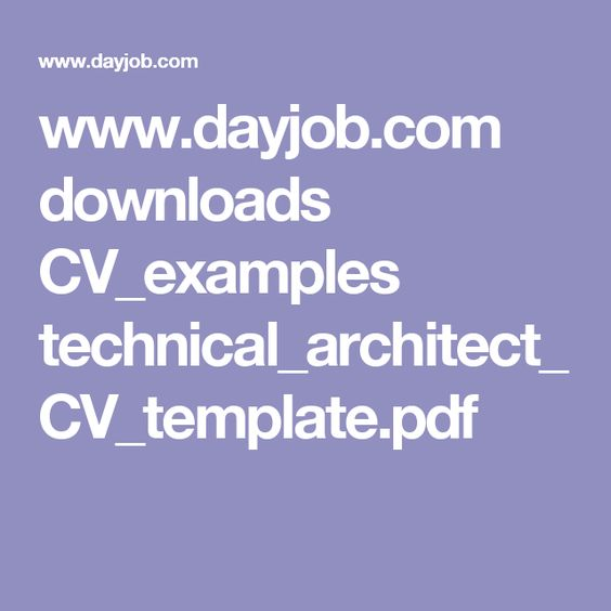 wwwdayjob downloads CV_examples - technical architect resume