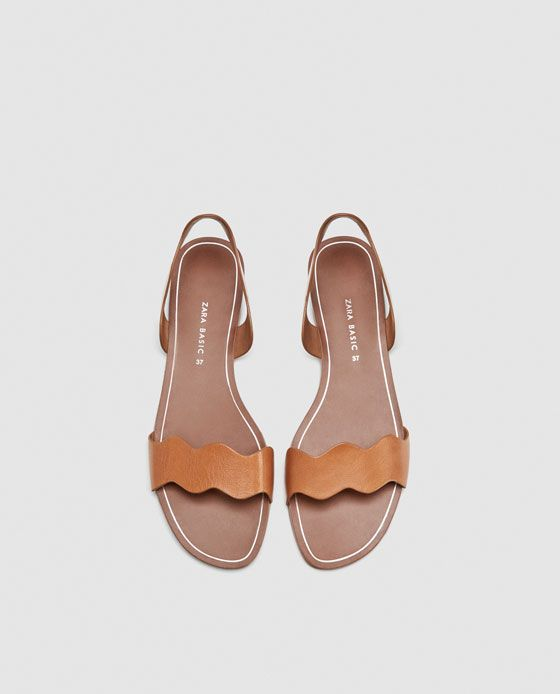 Zara Dan 3 Dalgali Bantli Deri Sandalet Resmi Sandalet Zara Deri