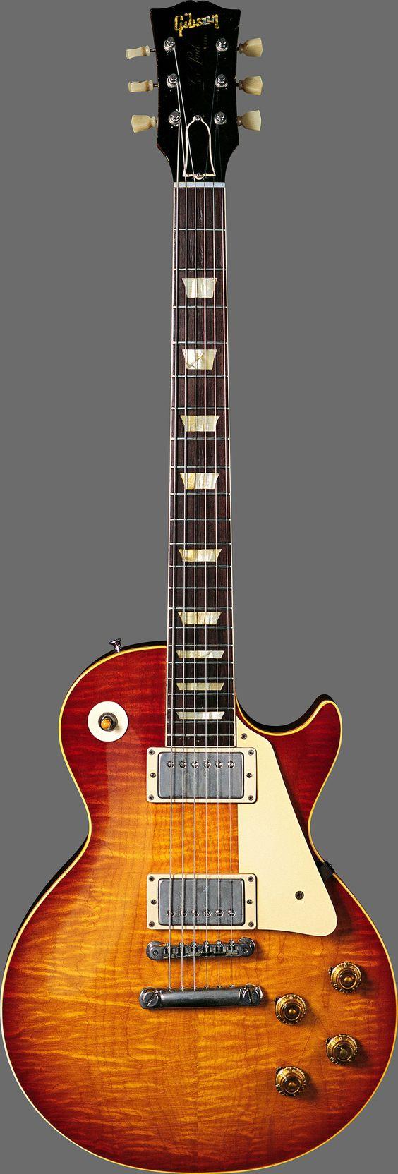 Gibson Les Paul. Una clásica. Yo tengo esta, pero una versión china.  Jimmy Page usaba ampliamente esta guitarra se le puede ver en Stairway to Heaven.