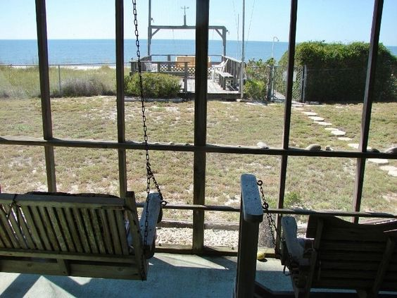Alligator Point Vacation Rental - VRBO 381637 - 2 BR Florida Main North West House in FL, Beachfront! Screened Porch, Screened Breezeway, Large Beachfront Deck!
