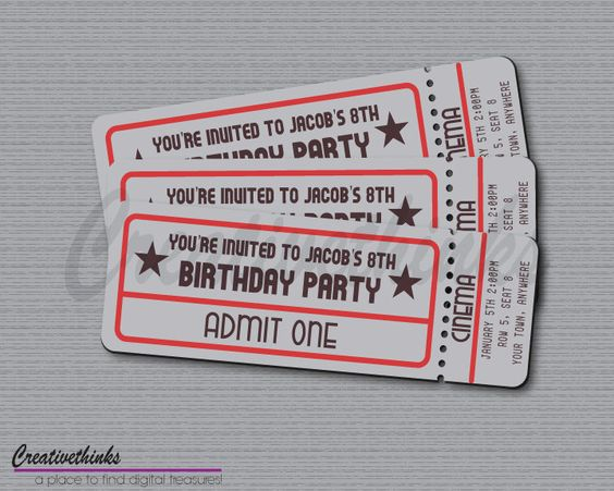 Printable Vintage Movie Ticket Invitation   Digital File $700   Free  Printable Movie Ticket Invitations  Free Printable Movie Ticket Invitations