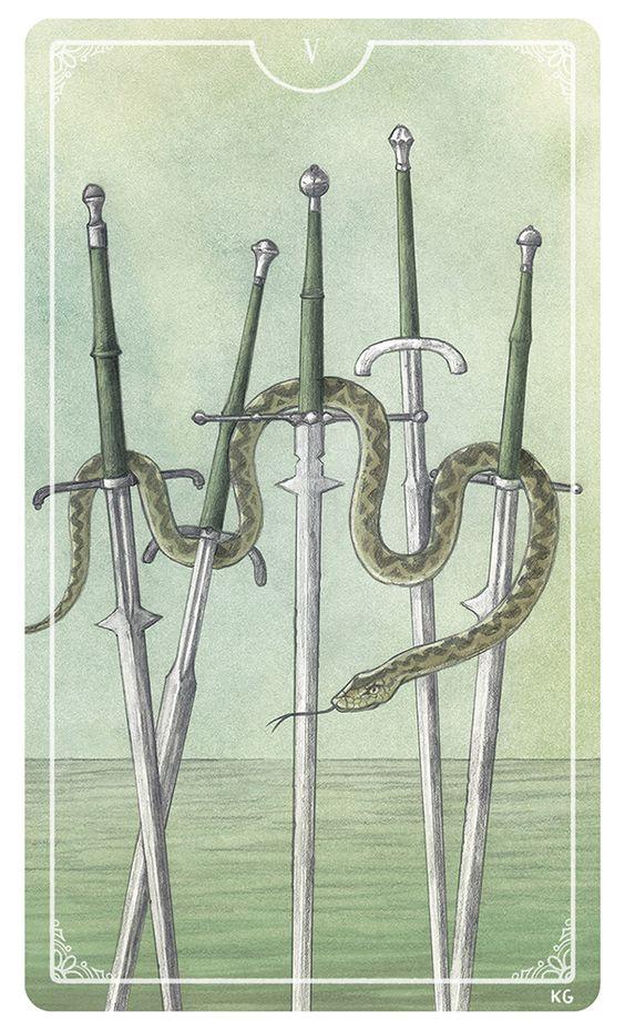 Five of Swords - Krista Gibbard For the upcoming Ostara Tarot Deck #tarotdeck #tarot #tarotcard #ostaratarot