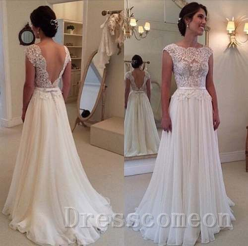 Long Sleeve White Lace Bodice Chiffon Skirt Elegant Simple: Cap Sleeves Beach Wedding Dress Simple A Line Lace Bodice