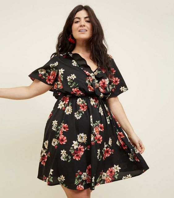 Curves Black Floral Ruffle Wrap Front Dress | New Look