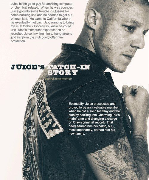 Sons of Anarchy - Juice's Patch In Story. I love him; he needed more screentime from season 1.