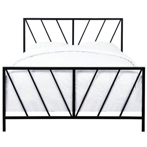 Aleksei Patterned Standard Bed Queen Metal Bed Black Metal Bed