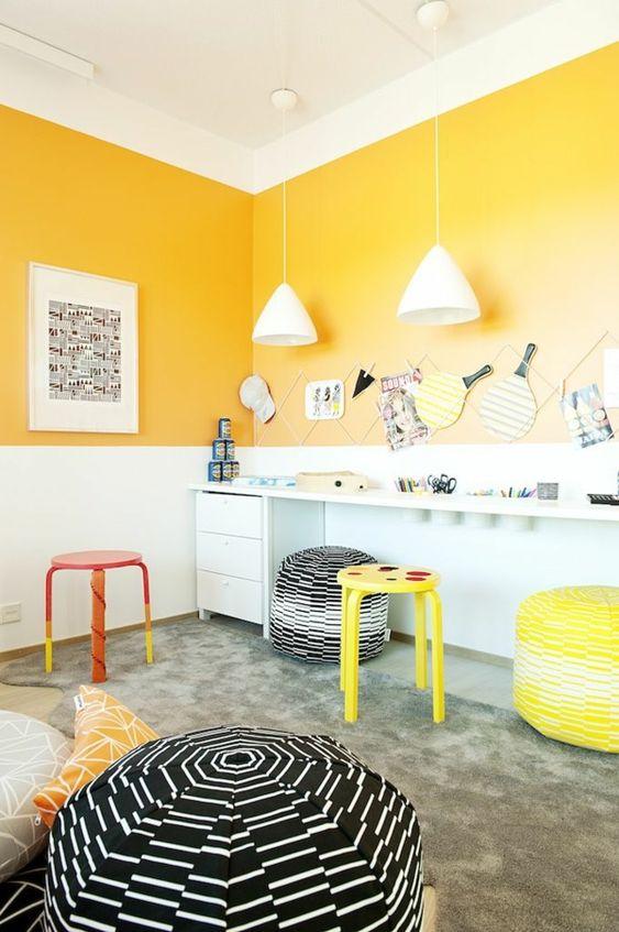 bunt gelb frisch lustig kinderzimmer design