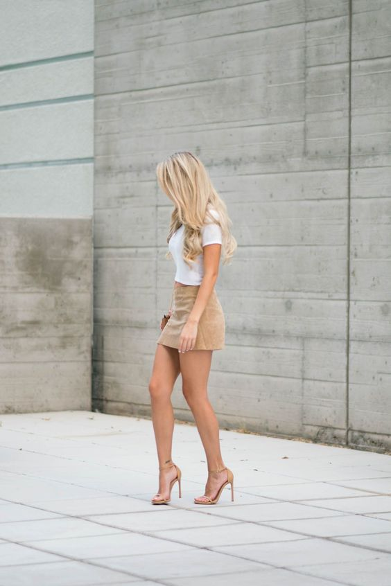 suede-mini skirt and white tee with Drew bag lookalike and stuart weitzman nudist sandals: