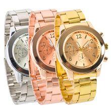 Lackingone aço inoxidável relógio de quartzo relógio de pulso mulheres relógio feminino relógio de quartzo de luxo 3 cores para ser escolhidos(China (Mainland))