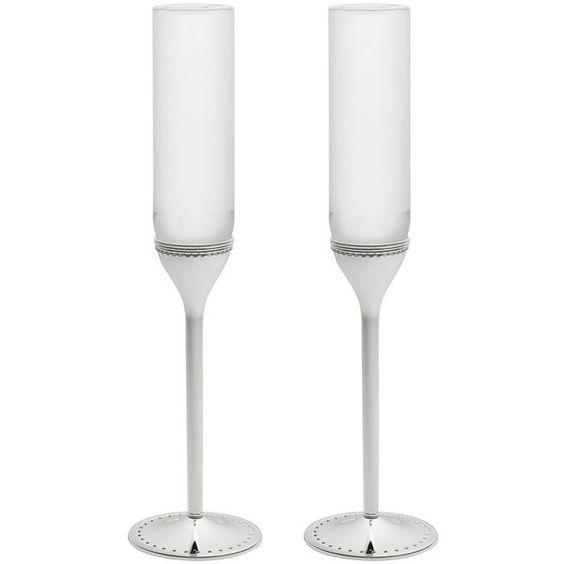 Vera Wang Wedgwood Set of 2 Grosgrain Toasting Flutes ($75) ❤ liked on Polyvore featuring home, kitchen & dining, drinkware, twin pack, wedding flutes and wedgwood