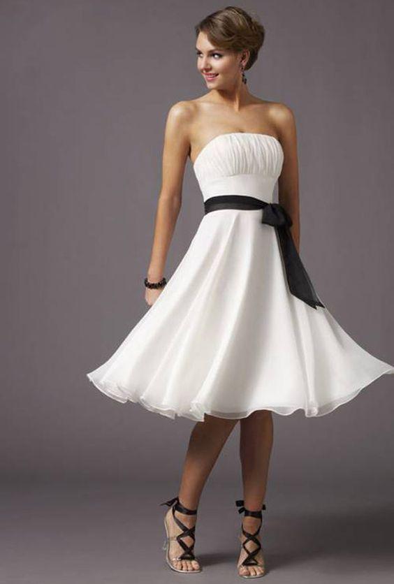 Vestido Sencillo de Cóctel de color Blanco y Negro