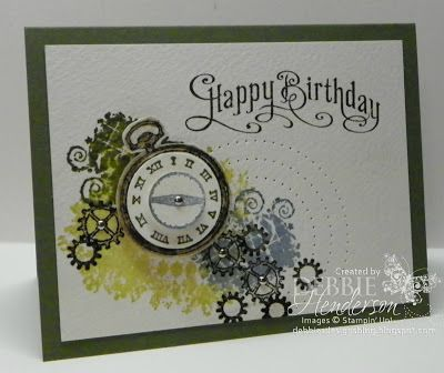 """Cardstock: Always Artichoke, Watercolor Paper  Inks: River Rock, Marina Mist, Early Espresso, Always Artichoke  Stamps: Perfectly Penned, Clockworks  Tools: 3/4"""" Circle Punch, 1 1/4"""" Circle Punch, Paper Piercer, Essentials Paper Piercing Pack, Blender Pen, Stampin' Dimensionals  Accessories: Mini Brads"""