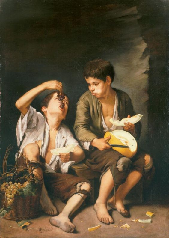Boys Eating Grapes  Bartolomé Esteban Murillo Spanish Baroque painter. Although he is best known for his religious works, Murillo also produced a considerable number of paintings of contemporary women and children. Wikipedia  b. 31DEC1617 Sevilla, Spain d.  03APR1682 Sevilla, Spain