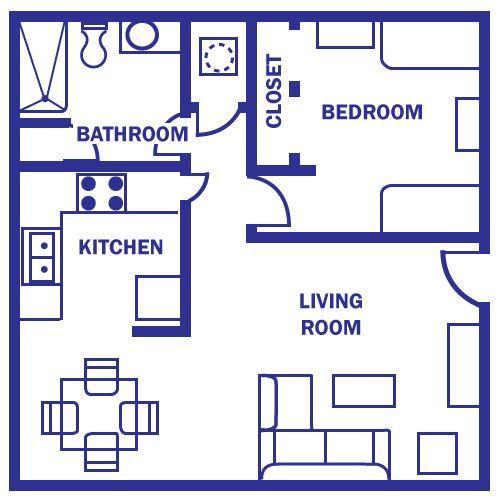 Studio apartment 3d floor plan for Studio apartment plans 3d