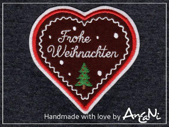 Aufnäher - Aufnäher Lebkuchenherz Frohe Weihnachten ♥ X-Mas - ein Designerstück von AnCaNi bei DaWanda