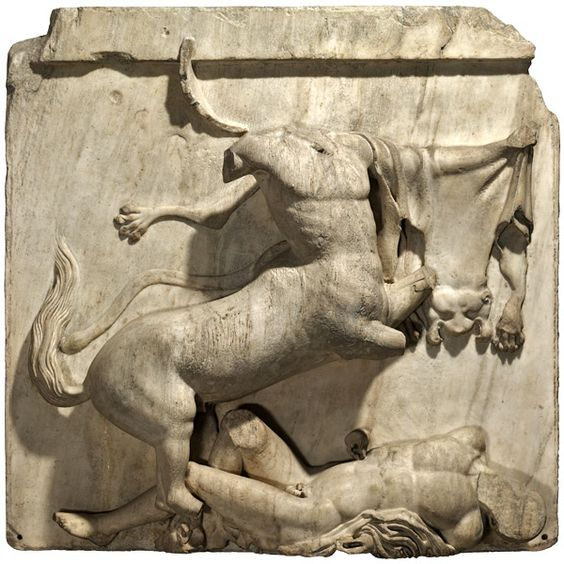 A metope depicts a battle between a centaur and a Lapith man.