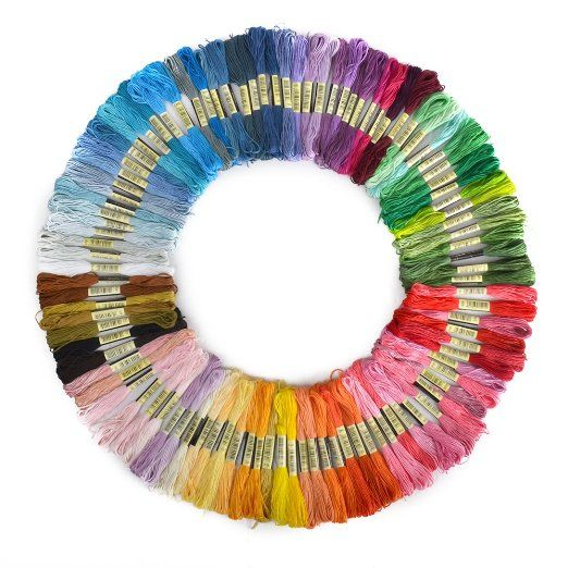 BOXCUTE Lot de 100 Echevettes de Fils Multicolores Pour Broderie Point de Croix…