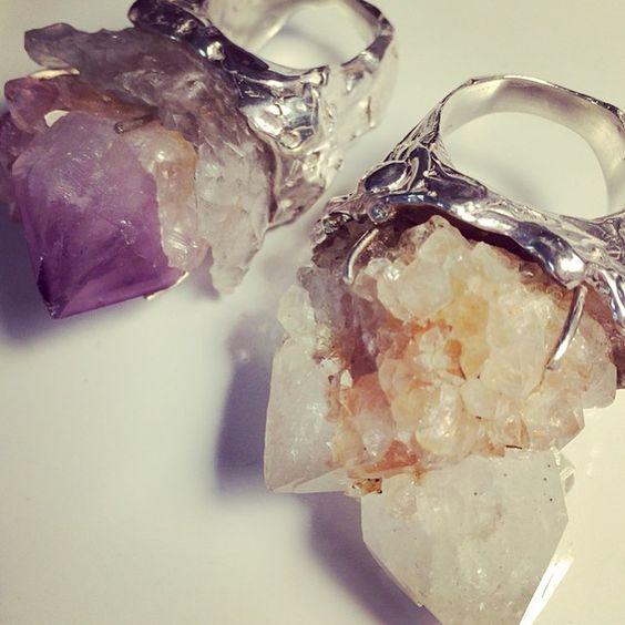 R I N G S ✨✊👊✨ #contemporaryjewellery #jewelry #jewellery #quartz #amethyst #citrine #statementring #quartzring #crystaljewelry #melbourne #melbournedesigner #melbournejeweller #lizzieslatteryjewellery