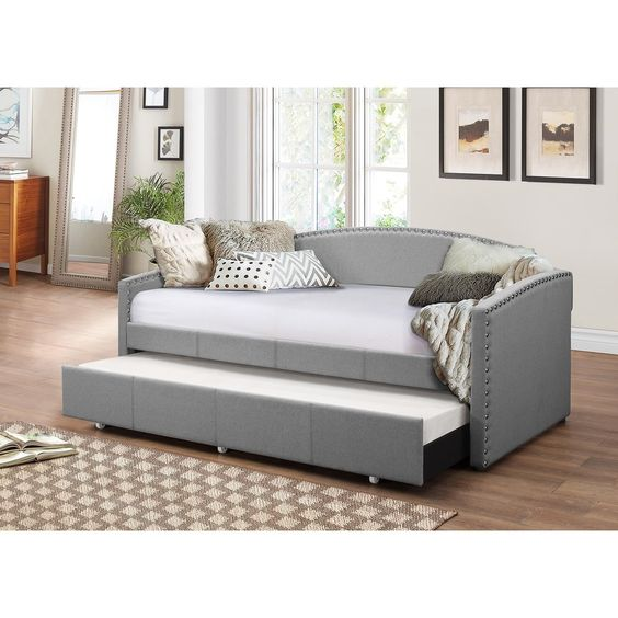Baxton Studio Lefteris Modern Contemporary Fabric Nailheads Trimmed - Daybed Images