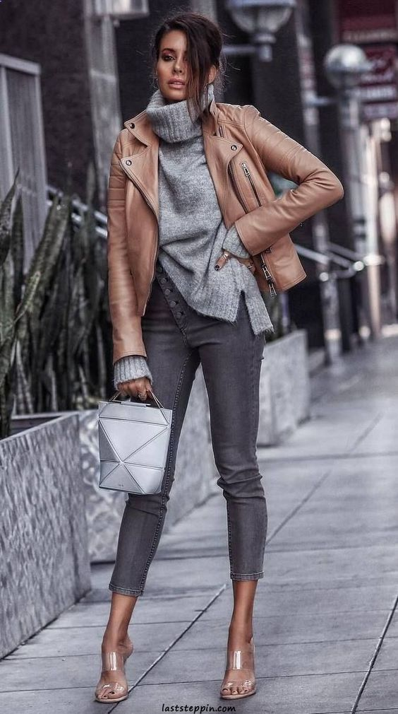 what to wear with skinny jeans : brown leather jacket bag heels knit sweater