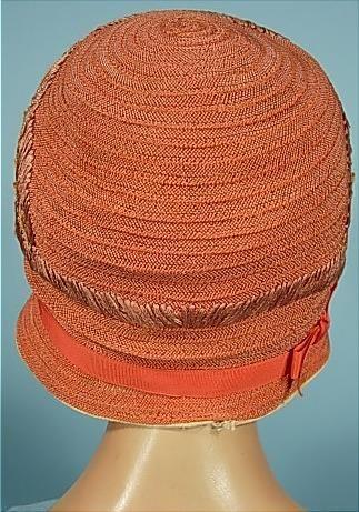 c. 1926 Super Pretty Apricot Colored Straw Cloche with Silk Ribbon Flowers.