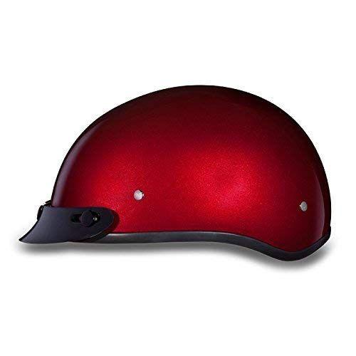 3//4 Open Face Motorcycle Helmet Retractable Visor Solid Red M