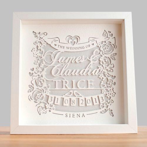 Personalised Classic Wedding Paper Cut Framed Gwag