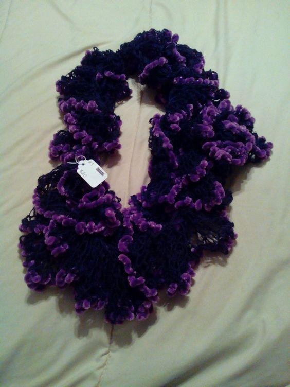 Deep Purple Infinity Ruffle Scarf by HopkinsHomemadeTrea on Etsy