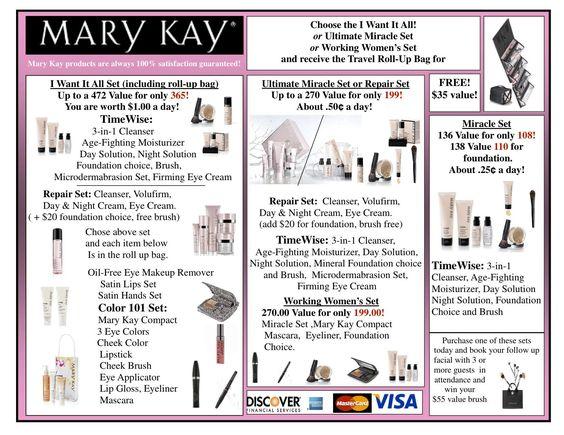 Mary kay reference sheet